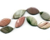Imperial Jasper Beads 42mm Flat Ovals All Natural 8 Large Pcs. Lovely Soft Colors