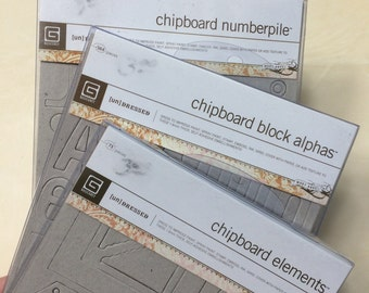 Lot of chipboard elements-Numbers, Alphabet