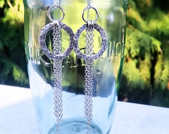 Hammered Sterling Silver Hoops with Silver Chain Tassel