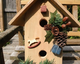 Birdhouse, handmade wooden Christmas toy bird house, garden decoration, outdoor lawn yard decor Mother's Day gift clearance sale