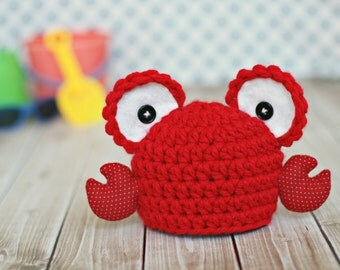 Baby lobster hat .. newborn photo prop .. summer hat .. newborn photography .. boy .. girl .. beach ..  gender nuetral .. baby crab hat