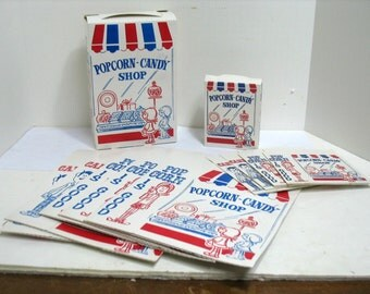 10 Vintage Popcorn Candy Shop Boxes 2 Sizes Movie Popcorn Box Lot of 10 Country Store Halloween