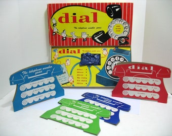 Vintage Dial The Telephone Number Game by Gardner Phone Board game ca: 1950s