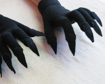 Gloves with claws, black on black, for Halloween costume or pretend play, one size stretch glove