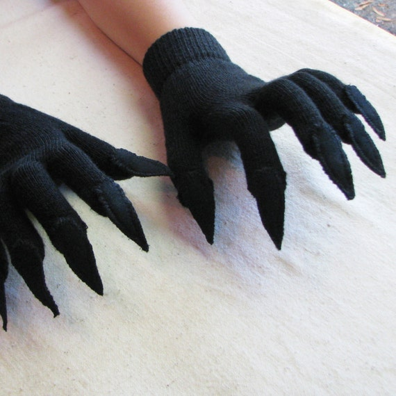 Gloves with claws black on black for Halloween costume or