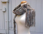 meteor shower. handknit scarf . vegan friendly knit scarf . medium weight autumn fall fashion scarf . grey cream tan camel gray sequins