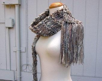 meteor shower. handknit scarf . vegan friendly knit scarf . medium weight autumn fall fashion scarf . grey cream tan camel gray sequins