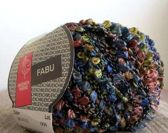 muench fabu yarn . deep woods . boucle ribbon yarn . 1 skein 79yds . mini tassel ribbon embellishment trim destash yarn . navy olive brown