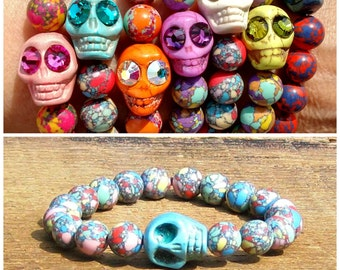Turquoise Howlite Skull and Synthetic Jasper Beads Bracelet Choose plain or Swarovski crystal eyes rocker girl yellow pink mint green coral