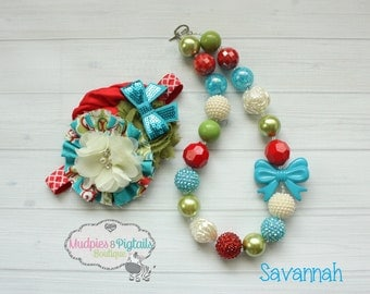 chunky necklace or baby headband set { Savannah} red, turqouise, cream, olive Fall headband, 1st Birthday, fabric flower, photography prop