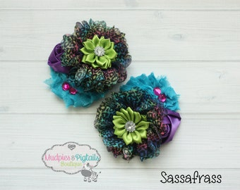 Shabby Flower Hair Clip or Set { Sassafrass } Cheetah Rainbow Purple, turquoise lime, pink sequin bow, baby flower clips, photography prop
