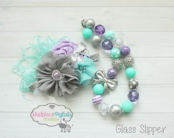 Princess chunky necklace or baby headband { Glass Slipper } lavender, silver, aqua, 1st first Birthday, cake smash set photography prop