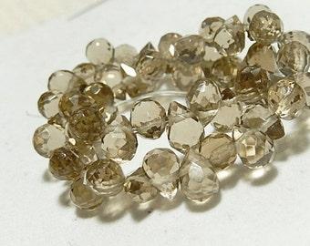 Faceted Teardrop Champagne Briolette Pendant Drop, 8x6mm. Glass Quartz Gemstone. 2 Teardrops. (75qzc) - SALE - WAS 3.50