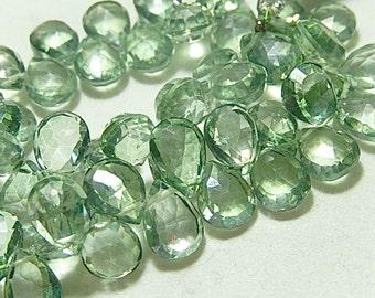 Mystic Green Quartz Gemstone.  Faceted Pear  Briolettes.10-11mm. Semi Precious Gemstone. Packet of 2.. (75qzg).