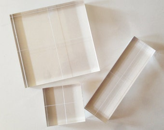 "Acrylic Blocks for Clear Stamps - Fabric Printing Block - Set of 3 - 1/2"" thick"