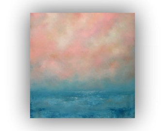 Pink and Blue Abstract Seascape- 24 x 24 Ocean Sky and Clouds Oil Painting- Original Palette Knife Art on Canvas