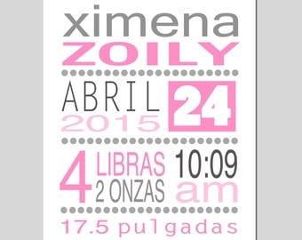 Spanish Birth Announcement Nursery Art Nursery Decor - 8x10 Custom Print - Modern Design - CHOOSE YOUR COLORS