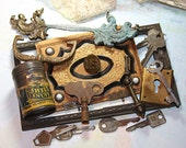 Salvage Collection- Metal ASSEMBLAGE LOT- Hardware- Antique Book Cover- Keys- Drawer Pull
