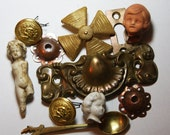 Brass Drawer Pull-Vintage Hardware- Doll Heads-Maltese Cross- Accessocraft NYC Brooch