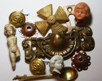 Salvaged Collection- Flea Market Finds- Brass Drawer Pull-Vintage Hardware- Doll Heads- Cross- Costume Jewelry- Brass Hardware