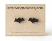 Bat earrings - alder laser cut wood earrings - Halloween earrings