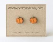 Pumpkin earrings - alder laser cut wood earrings - Halloween earrings