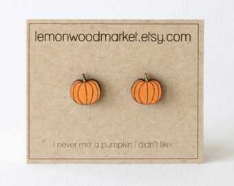 Pumpkin earrings - alder laser cut wood earrings - Halloween earrings