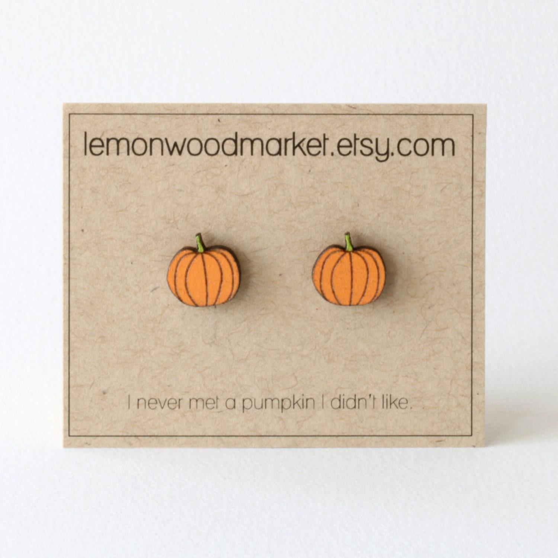 Pumpkin Earrings Alder Laser Cut Wood Earrings Halloween