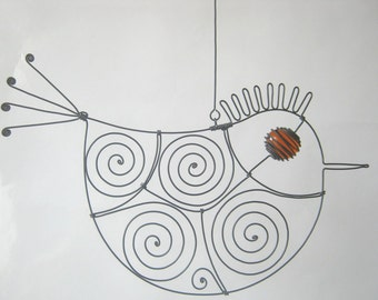 Wire Sculpture Orange - Eyed Metal Bird