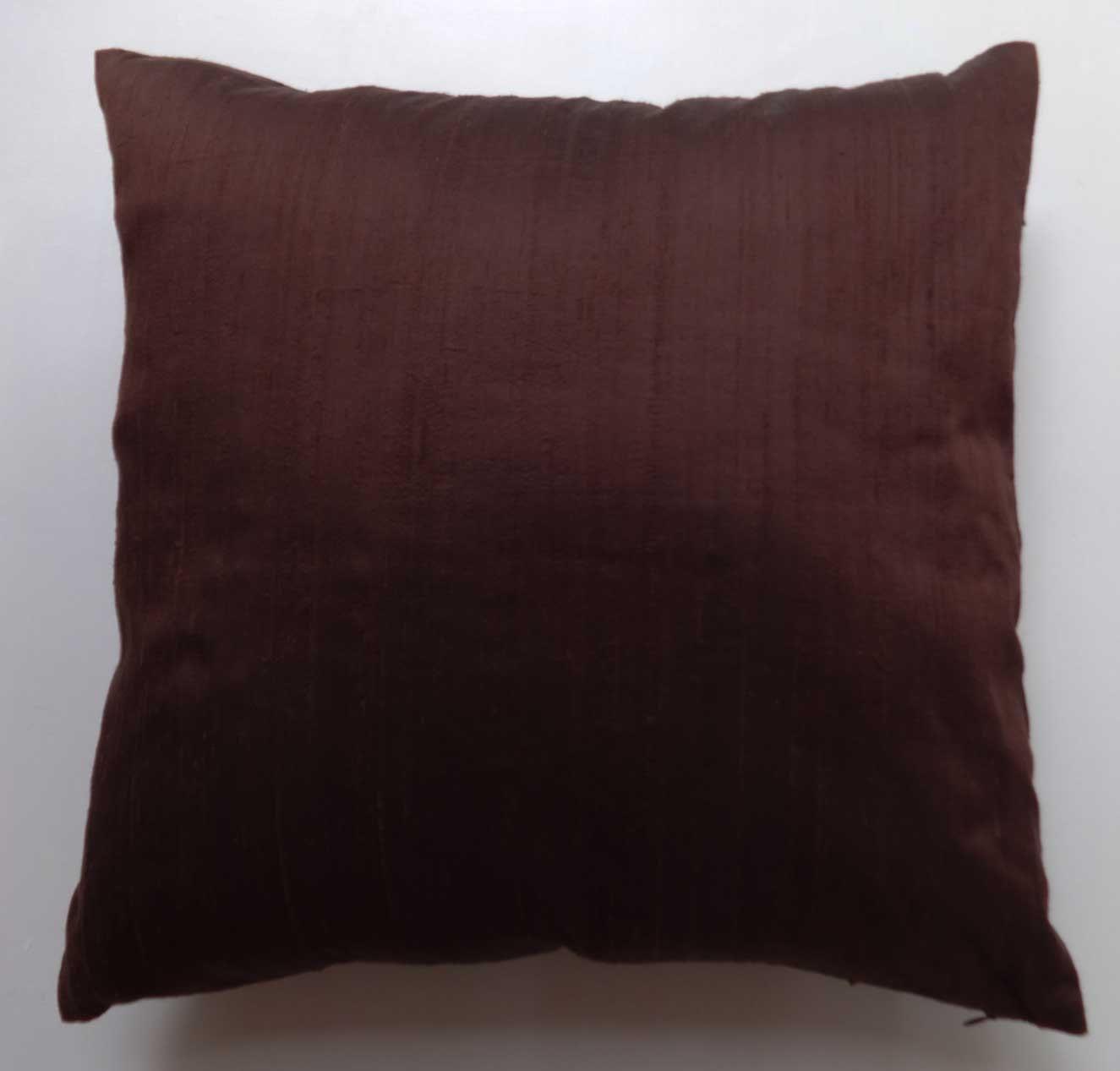 chocolate brown art silk pillow . cushion cover and throw