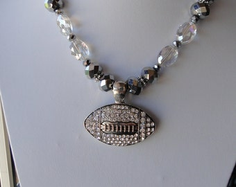 Football Pendant with Clear & Gray Beads  -  Free Shipping