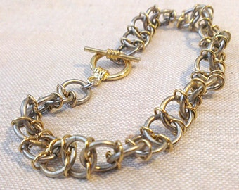 Biology Jewelry - Chainmaille DNA Bracelet - Genetics Watson Crick RNA Science Teacher Graduation Birthday Gift
