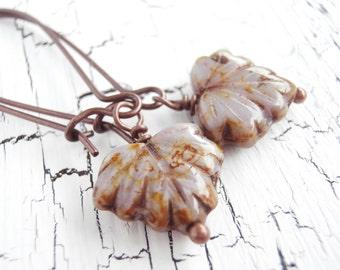 Beaded Earrings - Lilac Leaf Czech Glass Autumn Earrings