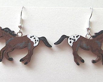 Wooden APPALOOSA Hand-painted Frenchwire Earrings....choose black or brown appaloosa