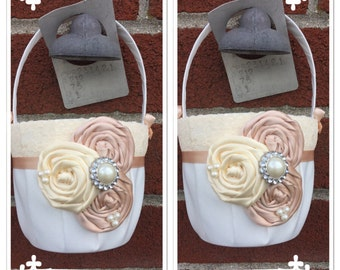 Set of Flower girl baskets /blush  Flower girl basket / YOU DESIGN / Blush  Flower girl basket