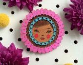 Flower Face Brooch
