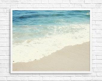 BUY 2 GET 1 FREE Beach Photography, California, Ocean, Blue, Sand, Wall Decor, Bright Blue, Beige, Santa Monica - The Blue Ocean
