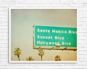 BUY 2 GET 1 FREE Santa Monica, Sunset Blvd, Hollywood, California Photography, Retro Inspired, Wall Decor -California Life