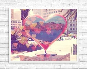 BUY 2 GET 1 FREE San Francisco, California, Heart, Love, Bokeh, Red, Wall Decor, Home, Office, Couples, Union Square, Wall Decor - City Love