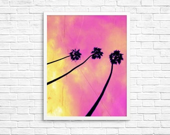 BUY 2 GET 1 FREE California Photography, Palm Trees, Summer, Los Angeles Print, Pink, Yellow, Wall Decor, Nature Photography - Pink Palms