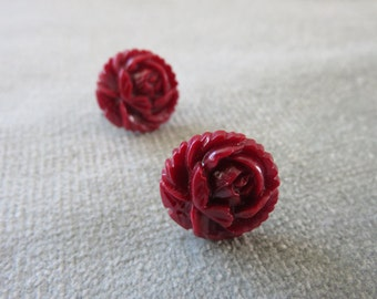 Vintage Dark Red Rose Earrings / 1920s