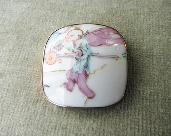 Japanese Painted Porcelain Shard Brooch / Pin