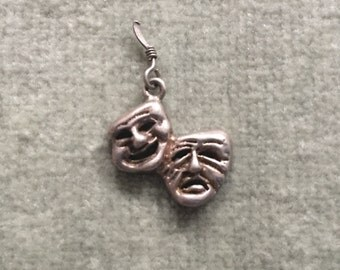 Silver Comedy and Tragedy Mask Charm / Thesbian / Theater