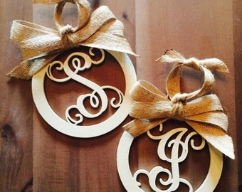 Round Wooden Initial Christmas Ornament with Burlap Ribbon