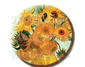 "SALE - Pocket Mirror, Magnet or Pinback Button - Wedding Favors, Party themes - 2.25""- Van Gogh's Sunflowers MR410"
