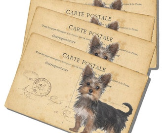 Digital Download, Sweet Yorkie Collage Sheet for Gift Tags and Scrapbooking