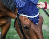 Zeus Horse Bonnet,  Custom Order Any Color and Size.  Cotton with Acrylic Pearls and Large Matching Bead Embellishment.