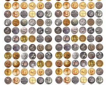 ancient antique coins coin clip art digital download Collage 14mm circles