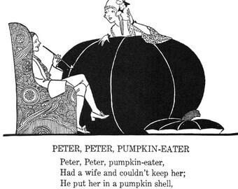 Peter Peter Pumpkin Eater clipart png clip art Digital Image Download graphics mother goose nursery rhymes victorian wall art printable
