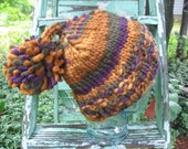 Pom Pom Beanie Hat Variegated Jewel Shades of Super Bulky Soft Wool a Hipster Pom Tassel Top Cap Knit Noggin Warmer Adult Size Ready to Ship